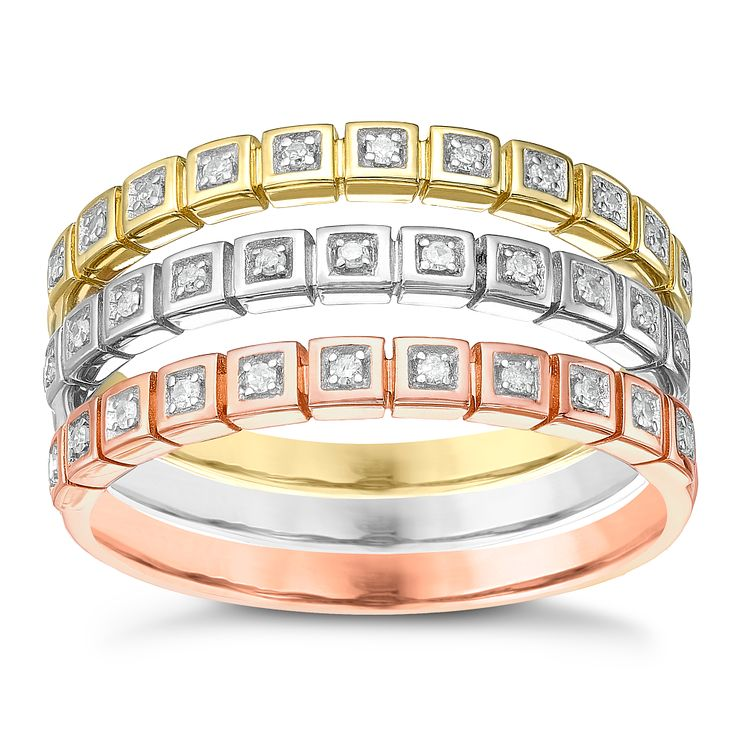 Sterling Silver 9ct Gold & Rose Gold Diamond Eternity Rings