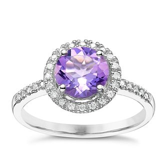 Silver Amethyst and 0.12 Diamond Set Ring - Product number 5308860