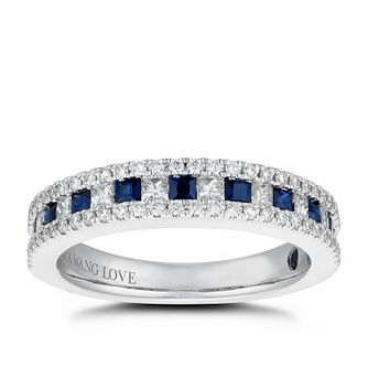 Vera Wang 18ct White Gold 0.45ct Diamond & Sapphire Ring - Product number 5308895