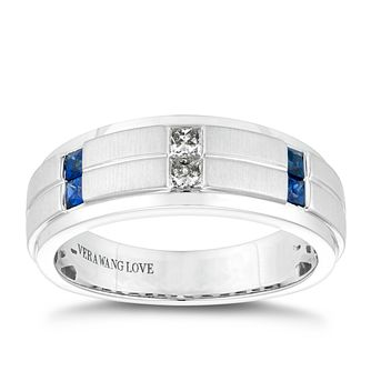 Vera Wang 18ct White Gold Sapphire 0.11ct Diamond Men's Ring - Product number 5313546
