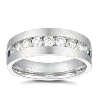 Vera Wang 18ct White Gold 0.95ct Diamond Sapphire Men's Ring - Product number 5313783