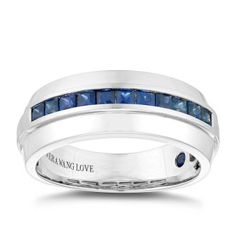 Vera Wang 18ct White Gold Sapphire Men's 8mm Eternity Ring - Product number 5315824