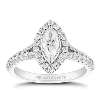 Vera Wang 18ct White Gold 0.95ct Diamond Marquise Halo Ring - Product number 5316073