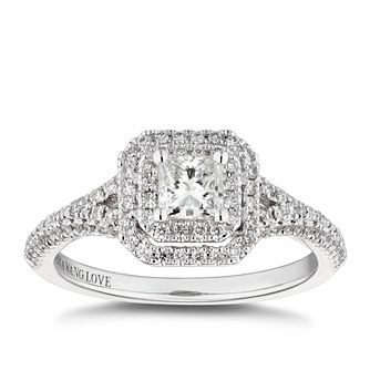 Vera Wang 18ct White Gold 0.69ct Total Diamond Halo Ring - Product number 5316308