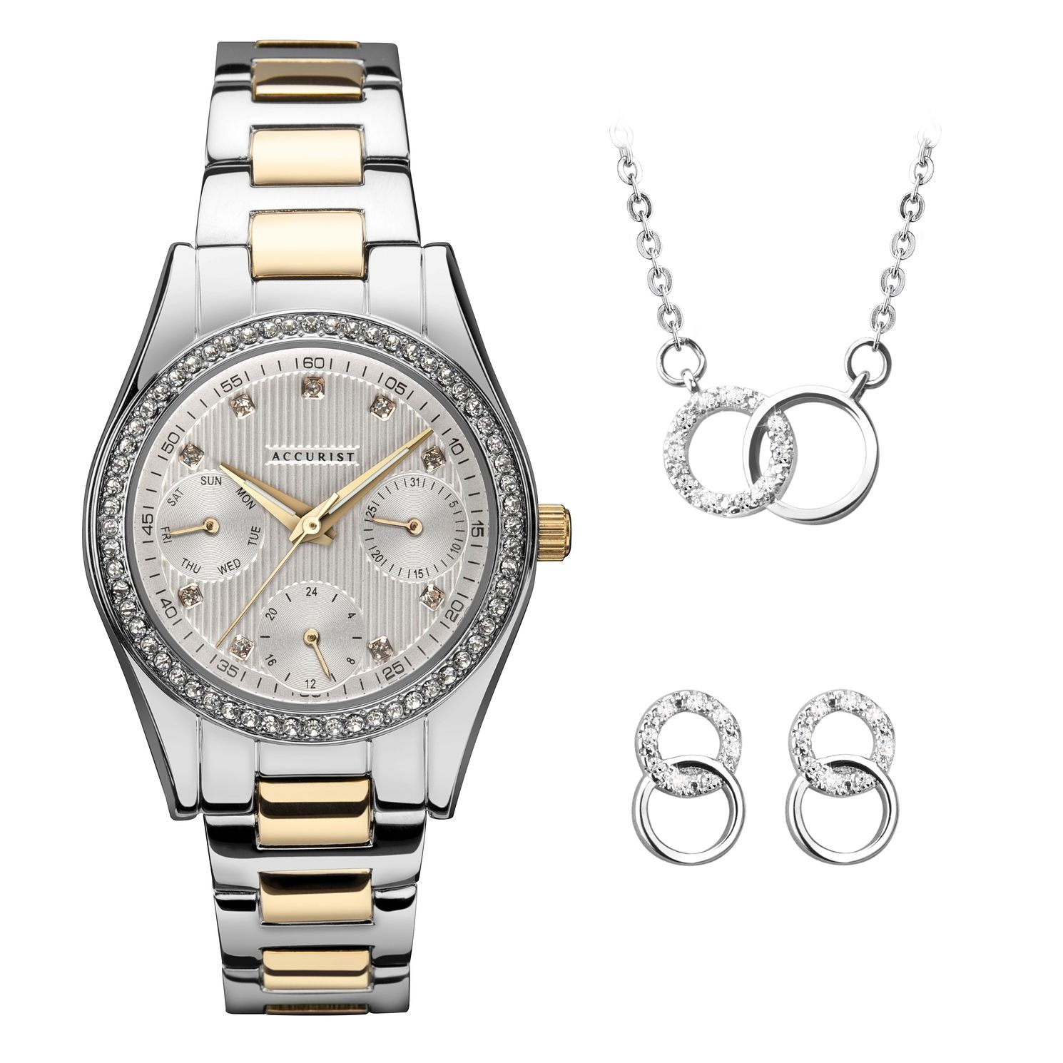 Accurist Ladies' Crystal Bracelet Watch & Jewellery Gift Set - Product number 5316375