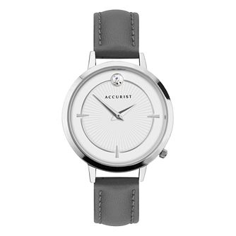 Accurist Pure Brilliance Ladies' Grey Leather Strap Watch - Product number 5316413