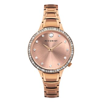 Accurist Crystal Ladies' Rose Gold Tone Bracelet Watch - Product number 5316456