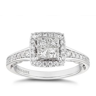 Vera Wang 18ct White Gold 0.69ct Diamond Princess Halo Ring - Product number 5316960