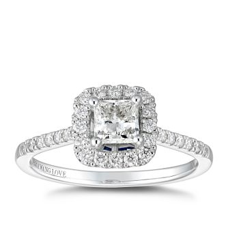 Vera Wang 18ct White Gold 0.69ct Total Diamond Halo Ring - Product number 5317371