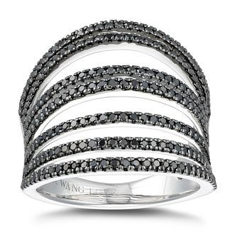 Vera Wang Silver 0.95ct Treated Black Diamond Multi-Row Ring - Product number 5318106