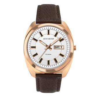 Accurist Retro Men's Rose Gold Plated Leather Strap Watch - Product number 5318661