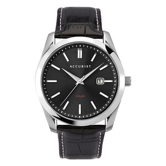 Accurist Solar120 Men's Steel Black Leather Strap Watch - Product number 5319617