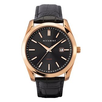 Accurist Solar120 Men's Rose Gold Plated Leather Strap Watch - Product number 5319676