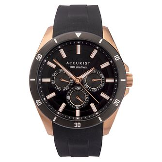 Accurist Contemporary Men's Black Silicone Strap Watch - Product number 5320437