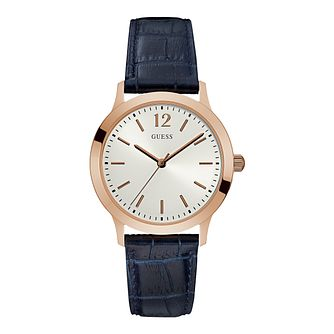 Guess Men's Dark Blue Leather Strap Watch - Product number 5320879