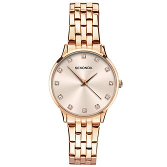 Sekonda Crystal Ladies' Rose Gold Tone Bracelet Watch - Product number 5321360