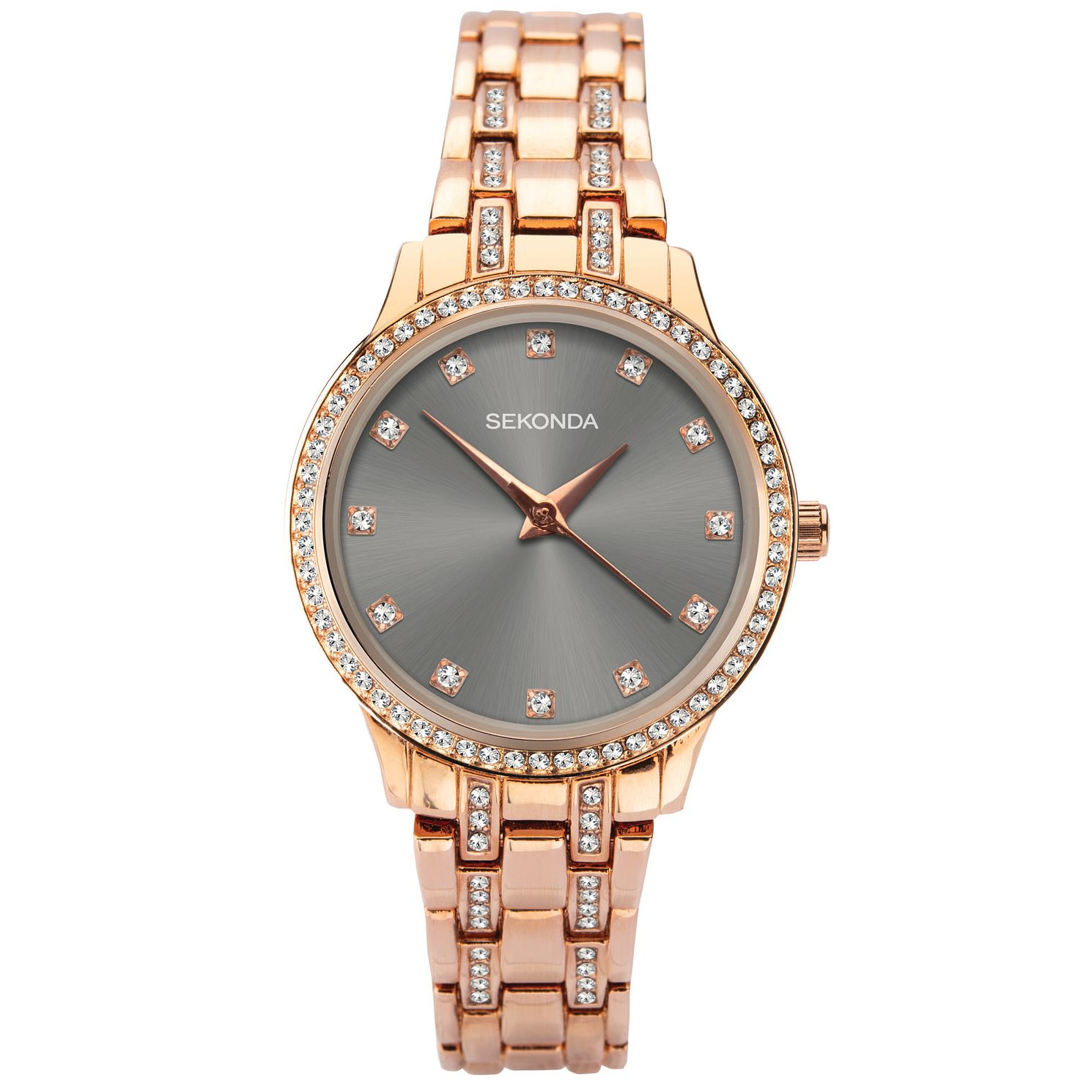 Sekonda Crystal Ladies' Rose Gold Tone Bracelet Watch - Product number 5321387