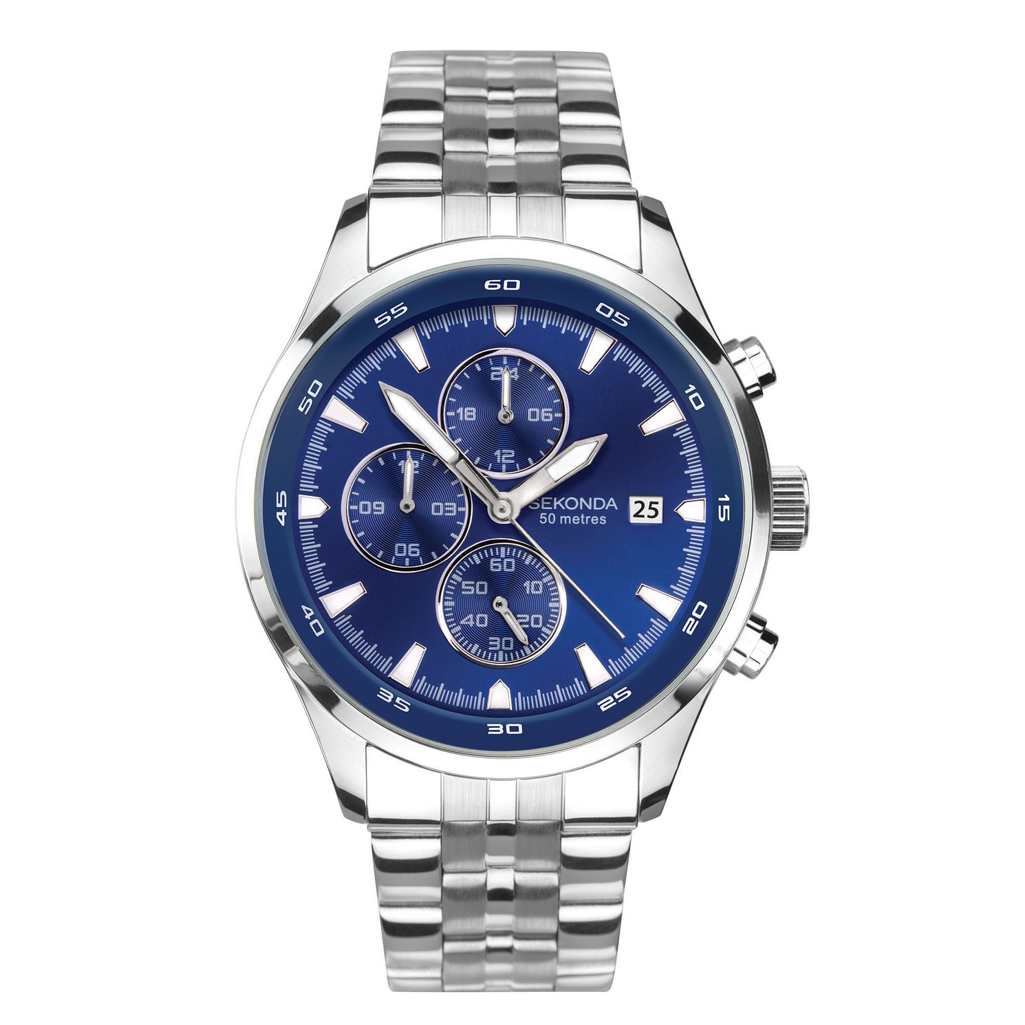 Sekonda Men's Dual-Time Stainless Steel Bracelet Watch - Product number 5321409