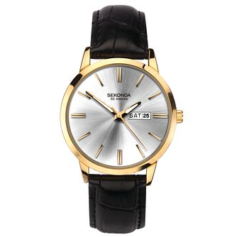 Sekonda Men's Black Leather Strap Watch - Product number 5322316