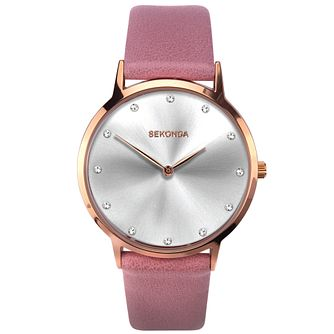 Sekonda Crystal Ladies' Pink PU Strap Watch - Product number 5322618