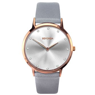 Sekonda Crystal Ladies' Grey PU Strap Watch - Product number 5322626