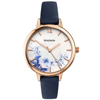 Sekonda Floral Dial Ladies' Black PU Strap Watch - Product number 5322634