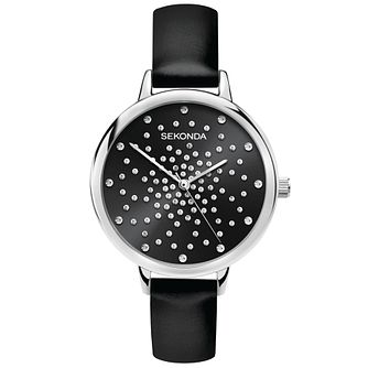Sekonda Crystal Ladies' Black PU Strap Watch - Product number 5322650