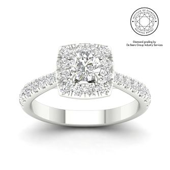 18ct White Gold & Platinum 1ct Diamond Halo Ring - Product number 5322820