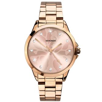 Sekonda Crystal Ladies' Rose Gold Tone Bracelet Watch - Product number 5323053