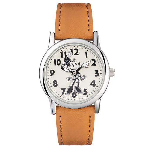 Disney Minnie Mouse Cream Dial Tan Leather Strap Watch - Product number 5323185