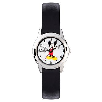 Disney Mickey Mouse Mini Black Leather Strap Watch - Product number 5323258