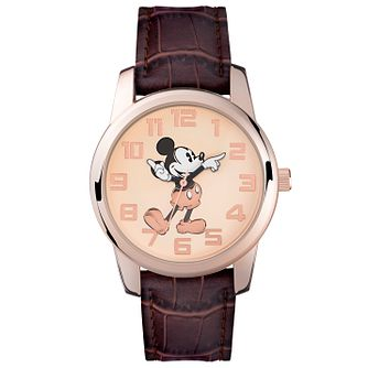 Disney Mickey Mouse Rose Gold Tone Brown Leather Strap Watch - Product number 5323282
