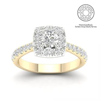 18ct Yellow Gold & Platinum 1ct Total Diamond Halo Ring - Product number 5323304