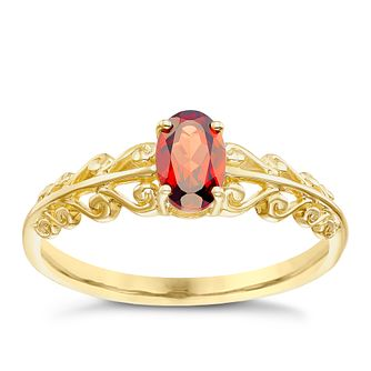 9ct Gold Garnet Fancy Shoulder Ring - Product number 5324874