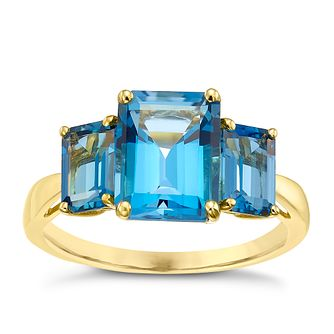 9ct Gold Baguette Cut London Blue Topaz Trilogy Ring - Product number 5325617