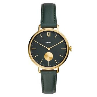 Fossil Kalya Ladies' Dark Green Leather Strap Watch - Product number 5326389
