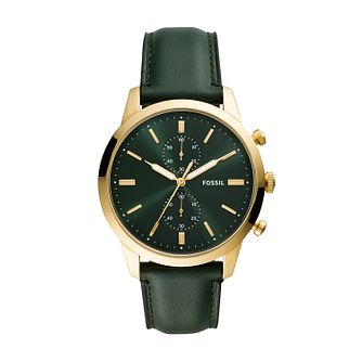 Fossil Townsman Chronograph Men's Green Leather Strap Watch - Product number 5326486