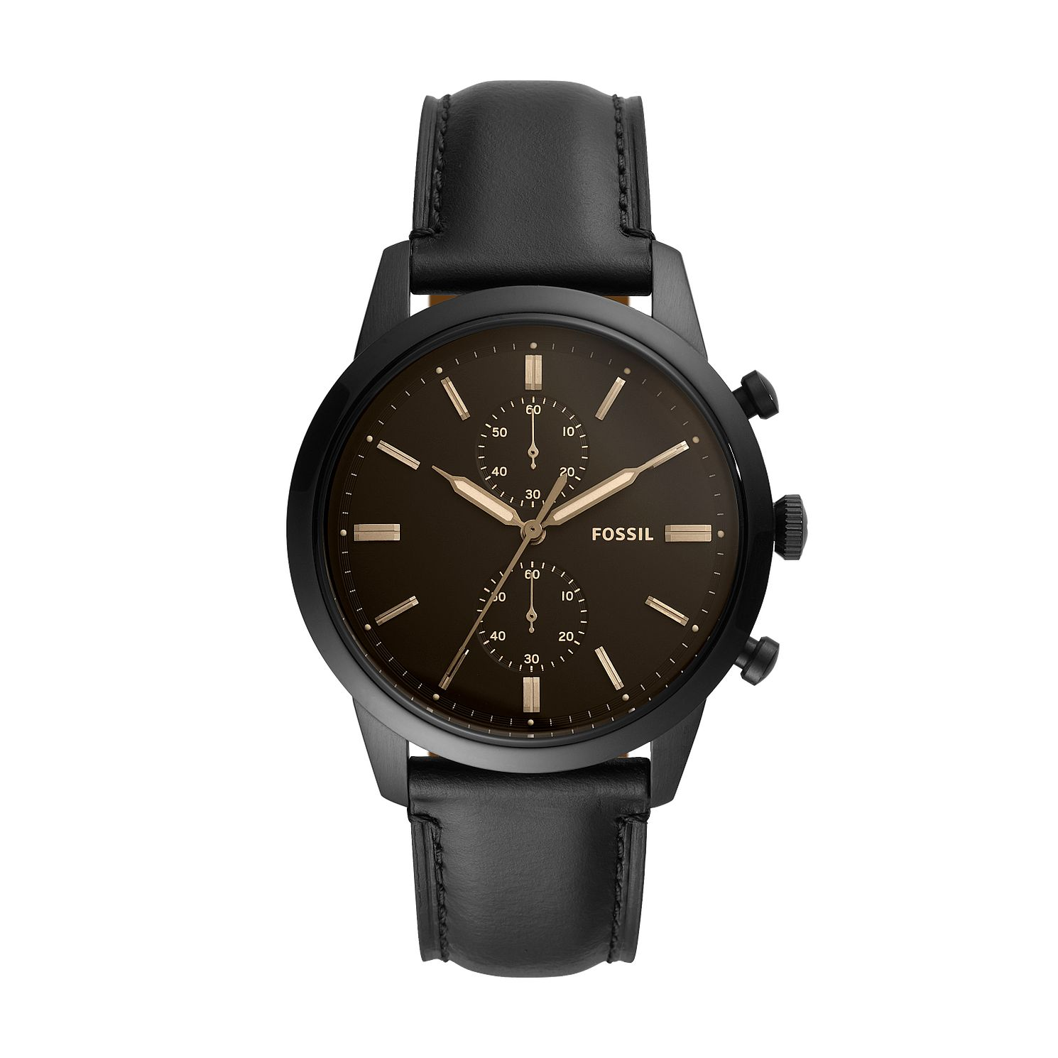 Fossil Townsman Chronograph Men's Black Leather Strap Watch - Product number 5326494