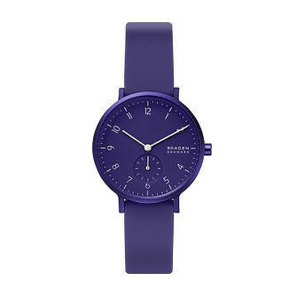 Skagen Aaren Kulor Ladies' Purple Silicone Strap Watch - Product number 5326559