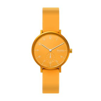 Skagen Aaren Kulør Unisex Yellow Silicone Strap Watch - Product number 5326567