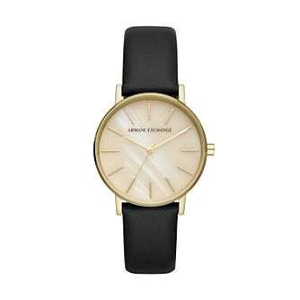 Armani Exchange Ladies' Black Leather Strap Watch - Product number 5326680
