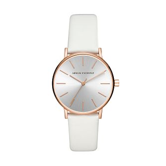 Armani Exchange Ladies' White Leather Strap Watch - Product number 5326699