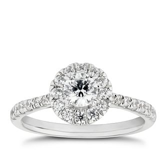 18ct White Gold 3/4ct Diamond Round Halo Ring - Product number 5327393