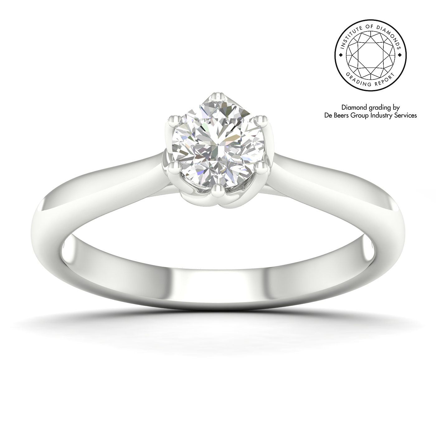 18ct White Gold & Platinum 1/2ct Diamond Solitaire Ring - Product number 5327954