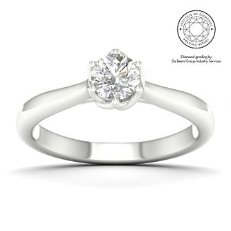 18ct White Gold & Platinum 0.50ct Diamond Solitaire Ring - Product number 5327954
