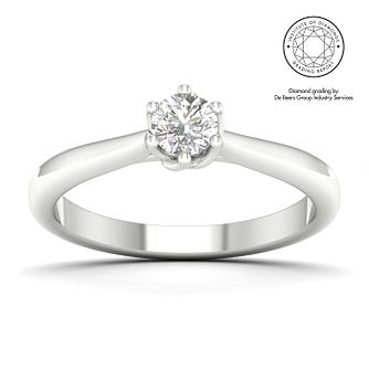 18ct White Gold & Platinum 0.30ct Diamond Solitaire Ring - Product number 5328500