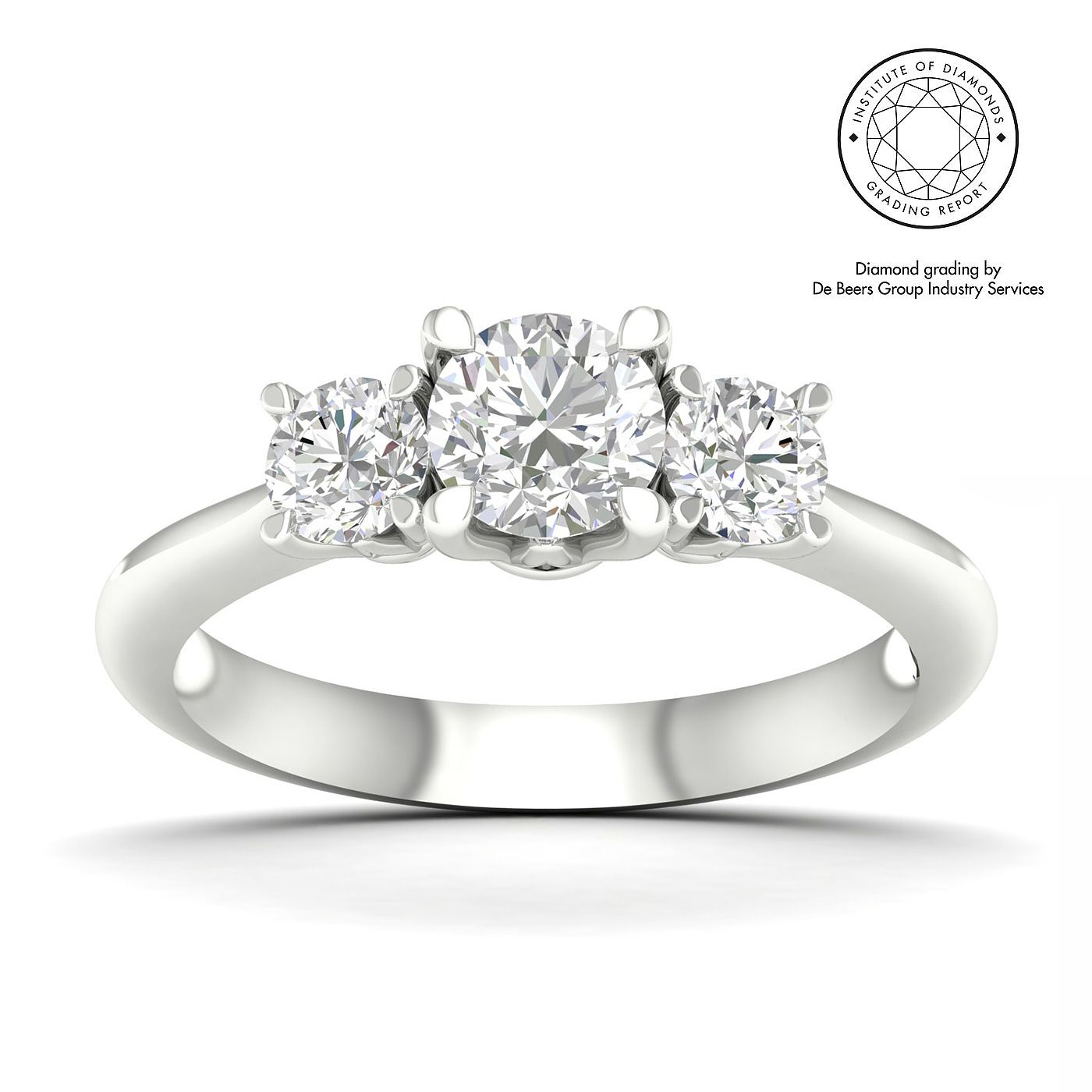 18ct White Gold & Platinum 1ct Diamond Three Stone Ring - Product number 5332370