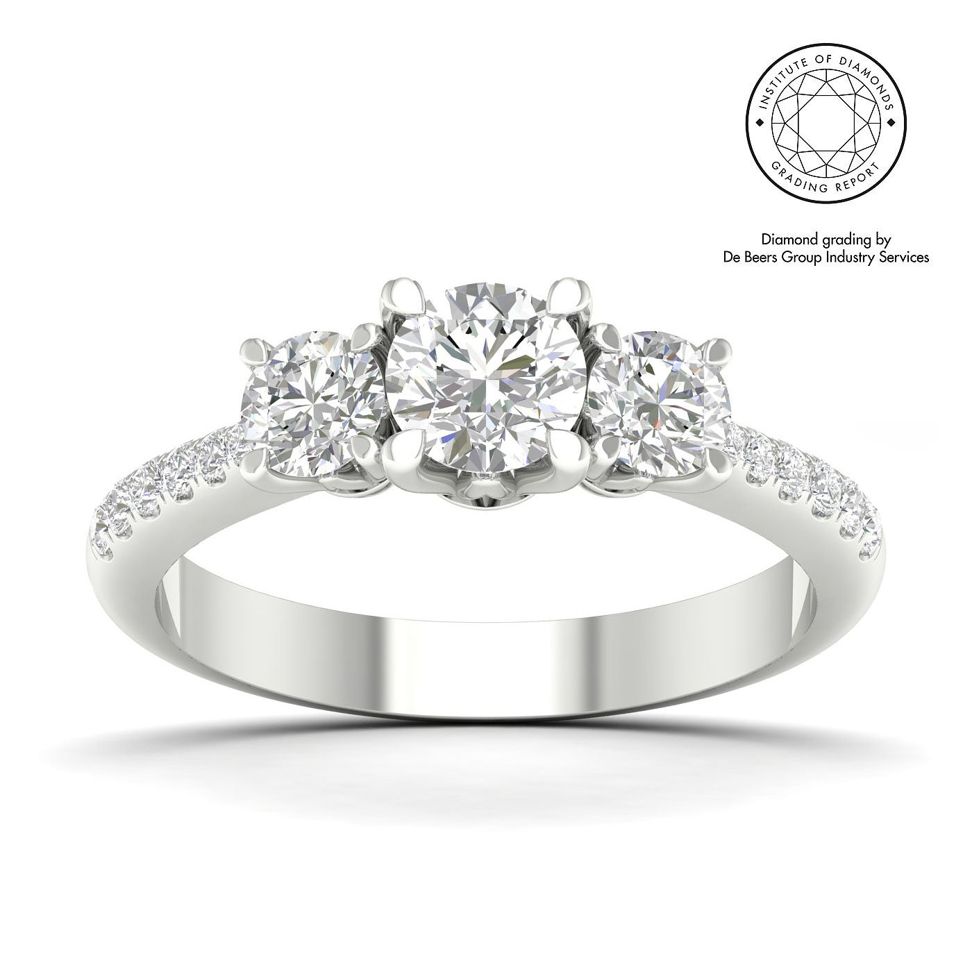 18ct White Gold & Platinum 1ct Diamond Ring - Product number 5334128