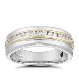 Vera Wang 18ct Two Colour Gold 0.37ct Diamond 7mm Men's Ring - Product number 5335221