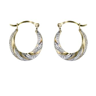 9ct Two Colour Gold Embossed 8mm Hoop Earrings - Product number 5339375